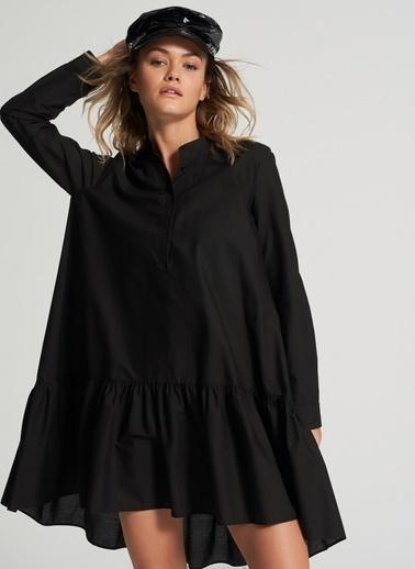 Pi π Arkası Uzun Gömlek Elbise Siyah